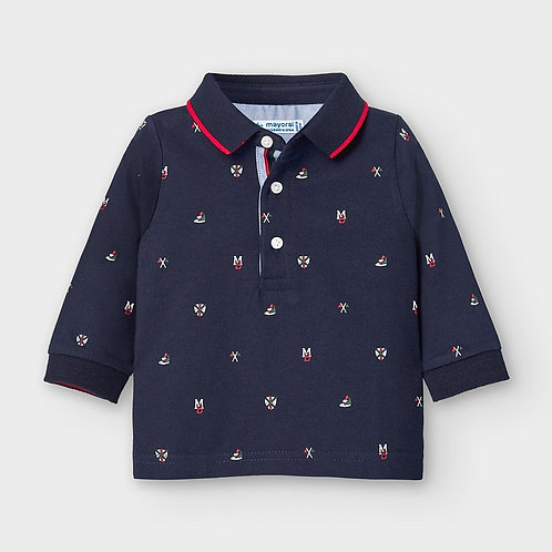 Mayoral Boys L/s printed polo in blue