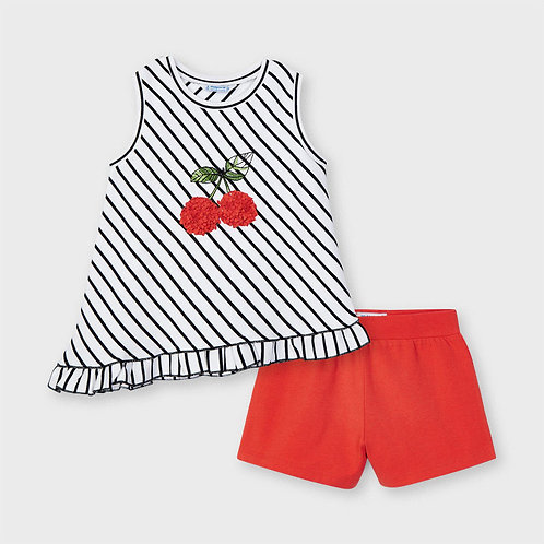 Mayoral striped short set Persimmon