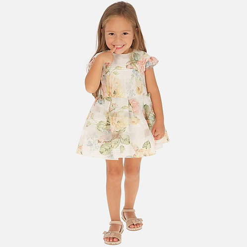 Mayoral Floral patterned dress for girls in Peach