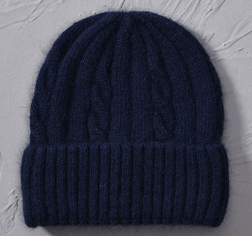 Cashmere Blend soft Knitted hats Age 6 to Adult-Navy Blue
