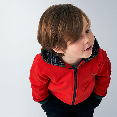 Mayoral Boys zip up Contrast sweatshirt in Red