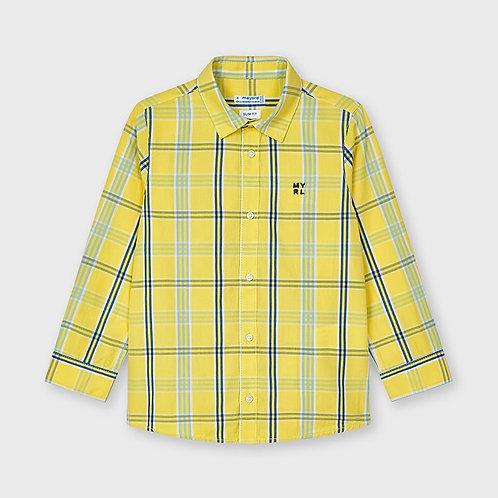 Mayoral Large check print shirt for boy in Banana