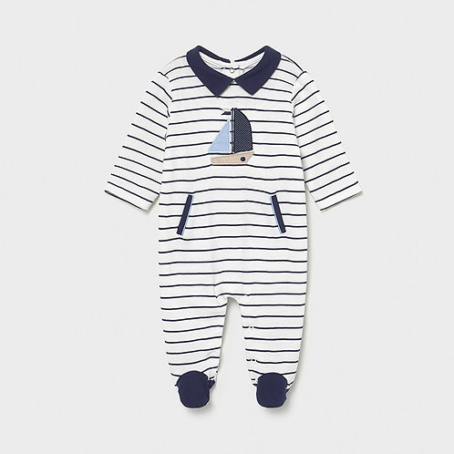 Mayoral striped long onesie Navy