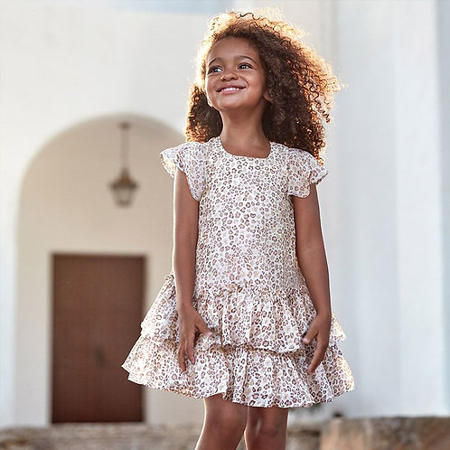 Mayoral Ruffle dress for girls in Beige