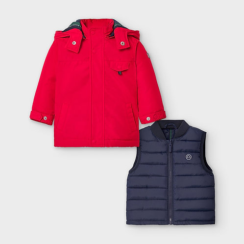 Mayoral Boys Reversible coat in Red