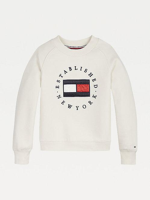 Tommy Hilfiger Flag Logo Crew Neck Sweatshirt: Cream
