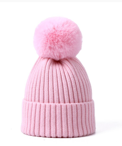 Soft Pink pompom Knitted Hat:Pink 2-4yrs