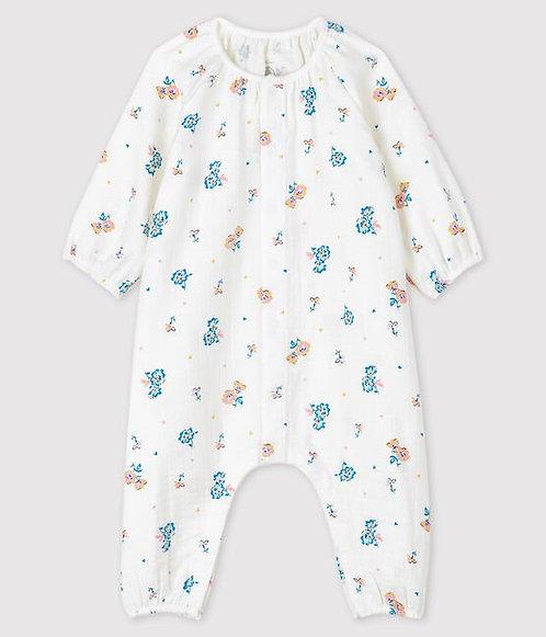 Petit Bateau Baby Girls' Easy-Care Floral Print Jumpsuit