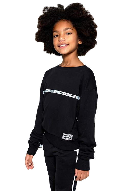 Pineapple Dancewear Girls Tape Print Sweatshirt in black