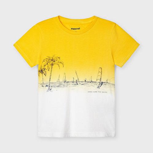 Mayoral short sleeved dip dye t-shirt Yellow