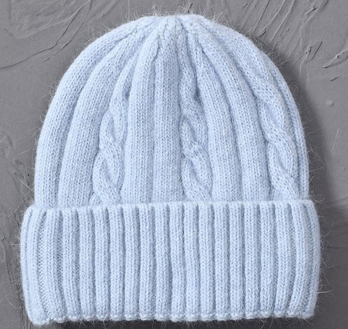 Cashmere Blend soft Knitted hats Age 6 to Adult-Pale Blue
