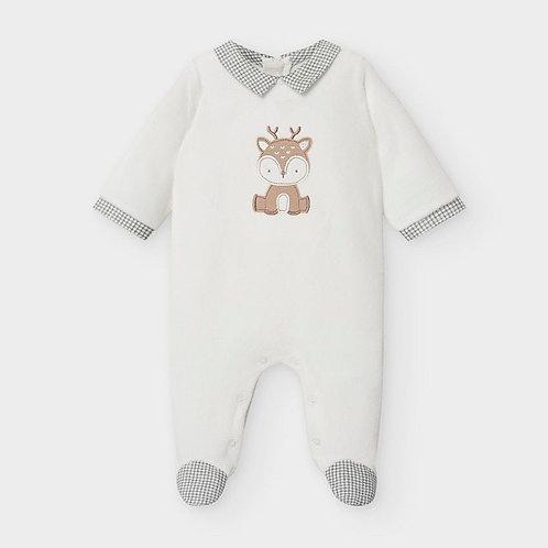 Mayoral Animal design velour onesie for newborn