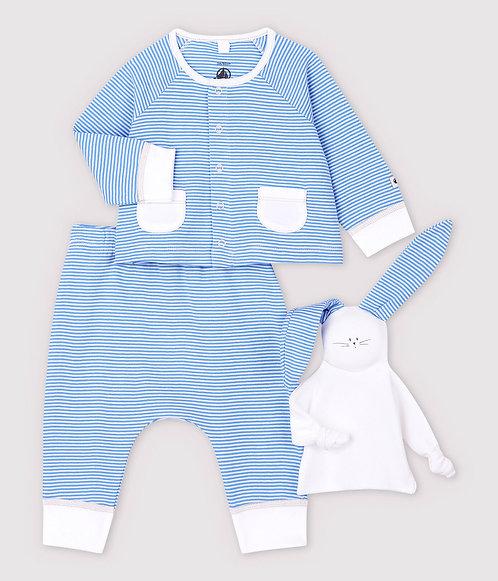 Petit Bateau-Babies' Blue Organic Cotton Clothing - 3-Pack