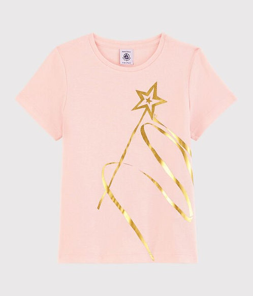 Petit Bateau-Girls' Short-Sleeved Cotton T-Shirt-pink