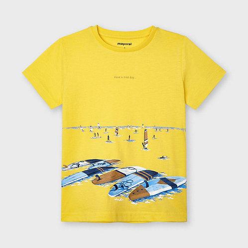 "Mayoral short sleeved t-shirt ""have a nice day"" Banana"