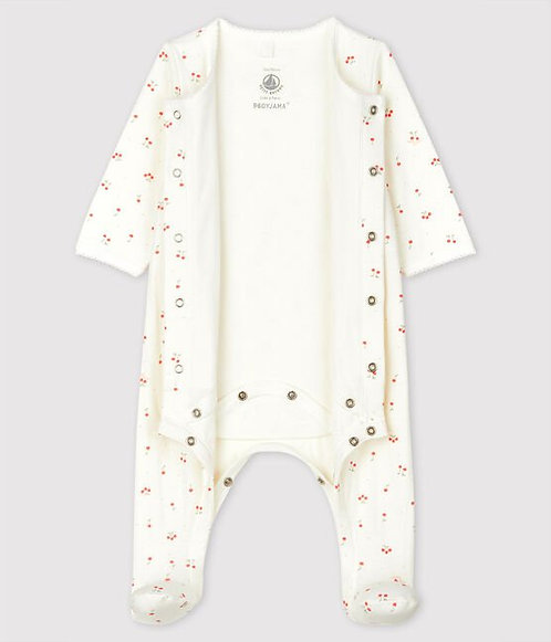 Petit Bateau-Babies' Cherry Pattern Organic Cotton Bodyjama