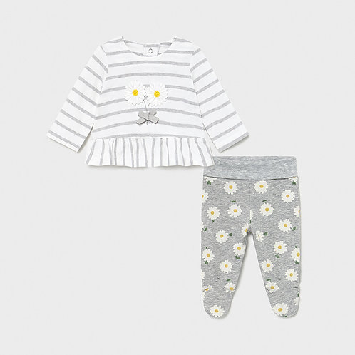 Mayoral baby girl top and legging set in Silver