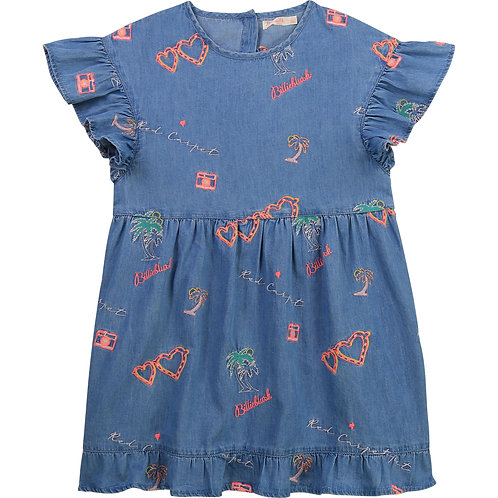 Billieblush Embroidered Denim Dress