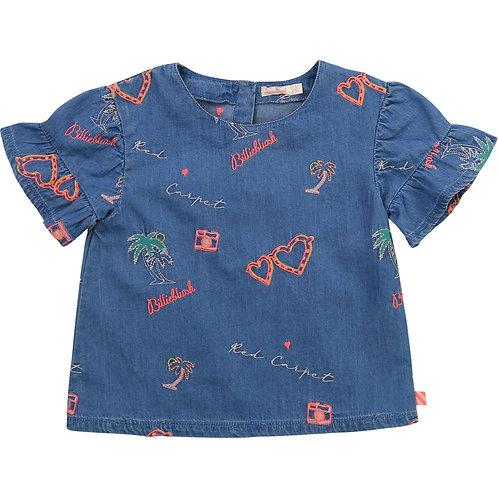 Billieblush Embroidered Denim Top