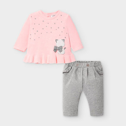 Mayoral Sweater and Trousers Set in Baby Rose