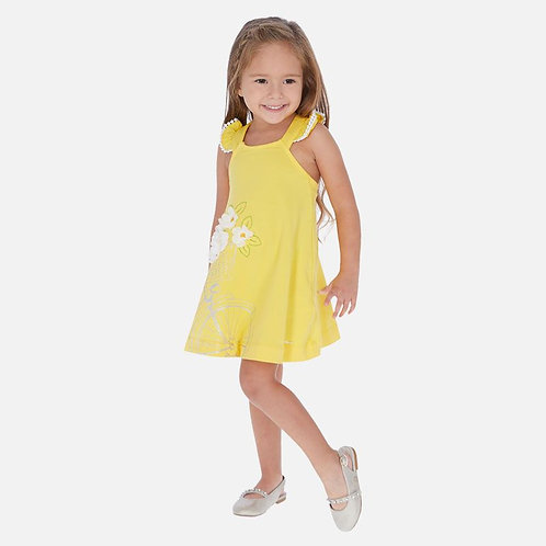 Mayoral cotton sundress ,Embroidered, with front design for girls in yellow