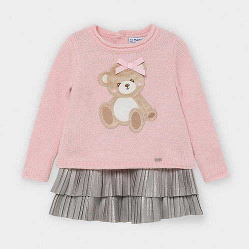 Mayoral Girls Tricot bear dress in Rose
