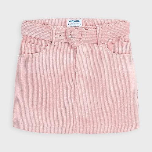 Mayoral Girls Shiny corduroy skirt in Blush