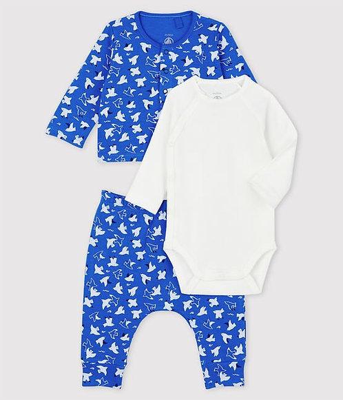 Petit Bateau-Babies' Blue Organic Cotton Clothing - 3 piece set