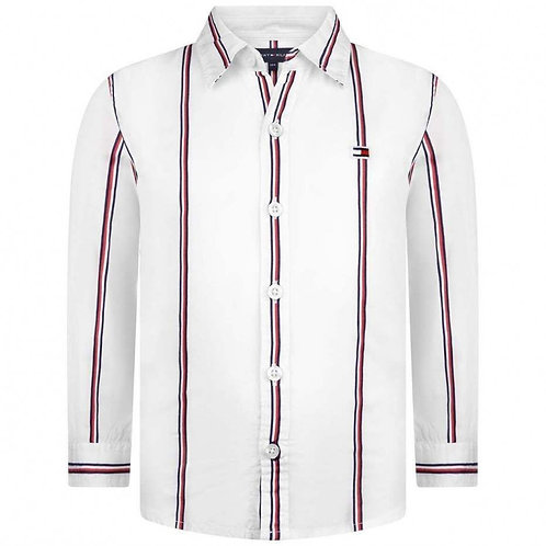TOMMY HILFIGER BOYS WHITE STRIPED COTTON SHIRT