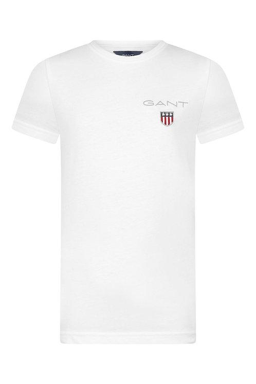 GANT Boys White Cotton Shield Logo T-Shirt