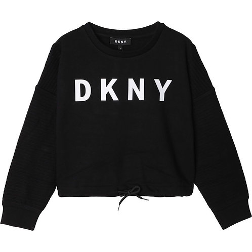 DKNY Logo Girls Fleece Sweatshirt Black