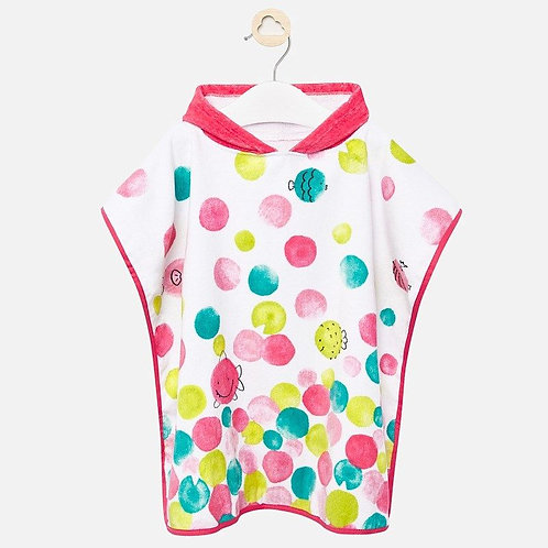 Mayoral Hooded towel with circles in pink design for Girls