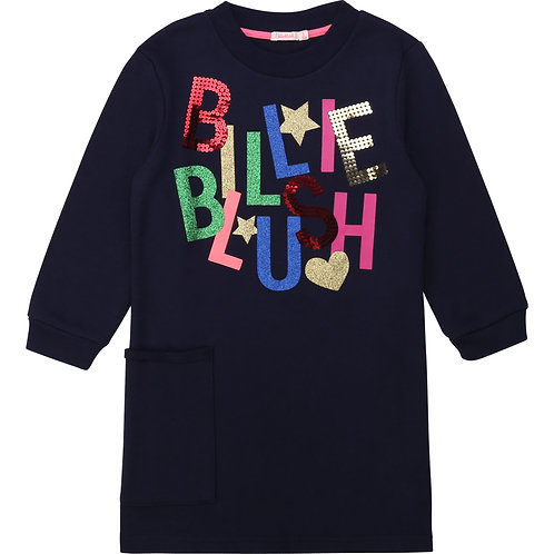 BILLIEBLUSH Fleece dress with pocket in navy