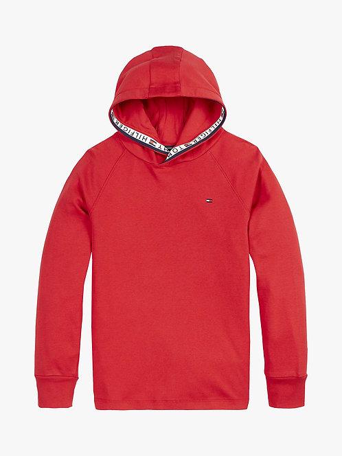 Tommy Hilfiger Boys' Organic Cotton Logo Tape Hoodie, Deep Crimson