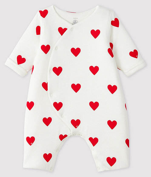 Petit Bateau Baby Girls' Long Ribbed Red Heart Jumpsuit