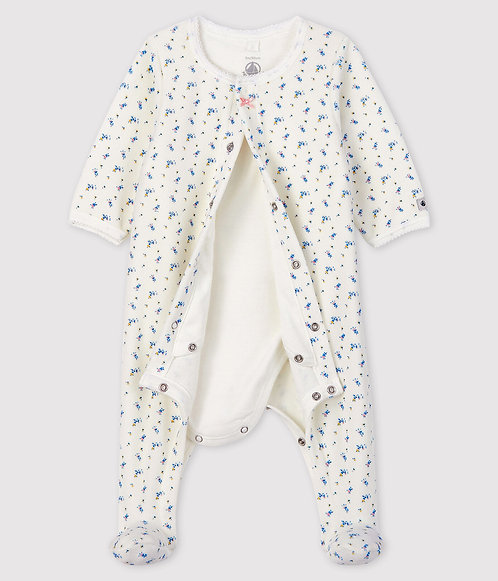 Petit Bateau Baby Girl's Baby Girls' floral print Velour Bodyjama