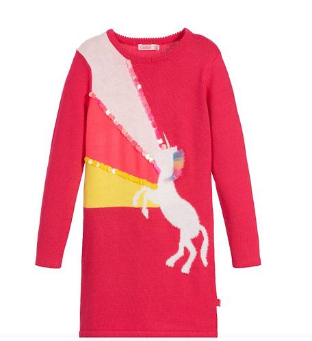 Billieblush - Pink Cotton Knit Unicorn Dress-2yrs