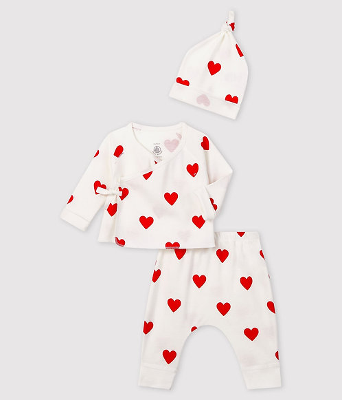 Petit Bateau  Baby girl's red hearts rib-knit gift set