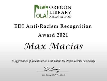 Max Macias Wins Equity, Diversity, Inclusion and Anti-racism Recognition Award