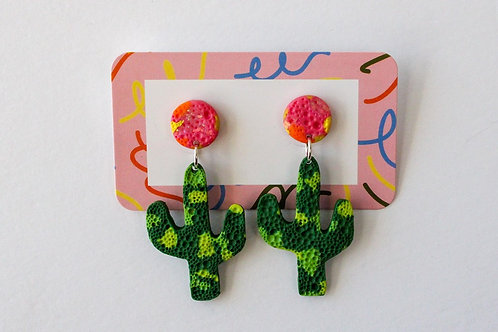Wearable Art Earrings - Cactus