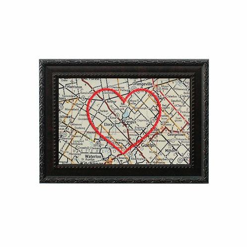 Elora/Fergus Embroidered Heart Map