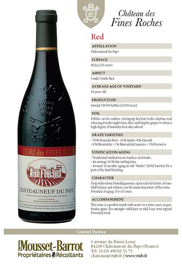 2016 Chateau des Fines Roches, Chateauneuf-du-Pape Red  (Available by bottle)