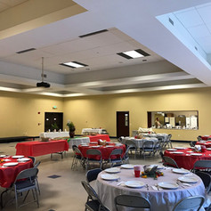 Event hall with view of full-service Kitchen