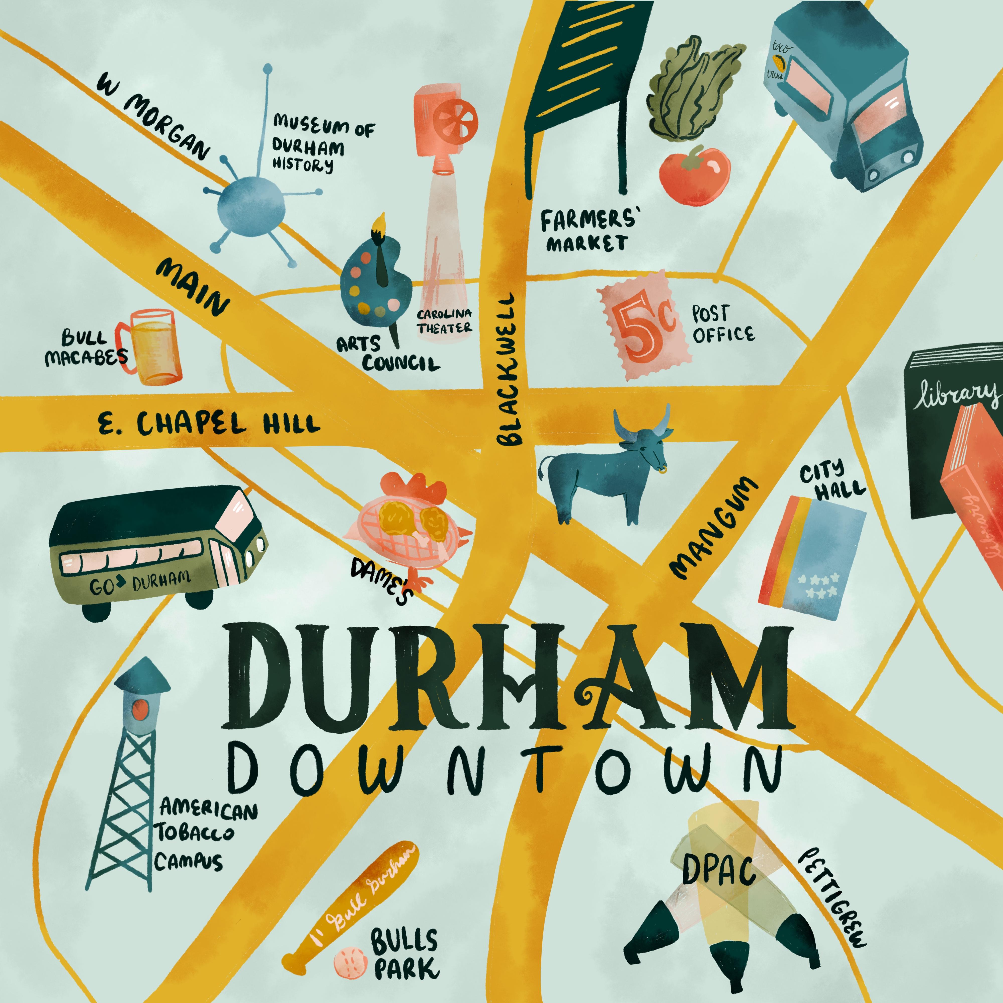 Illustrated Map of Durham