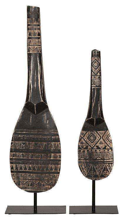 MUST LIVING, Standdeko Tribal Spoon, Teakholz, schwarz, 2er Set