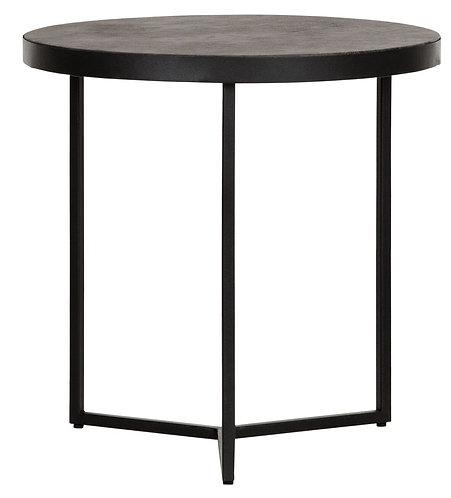 MUST LIVING, Beistelltisch Harmony, rund, recyceltes Leder, schwarz, 50x50cm