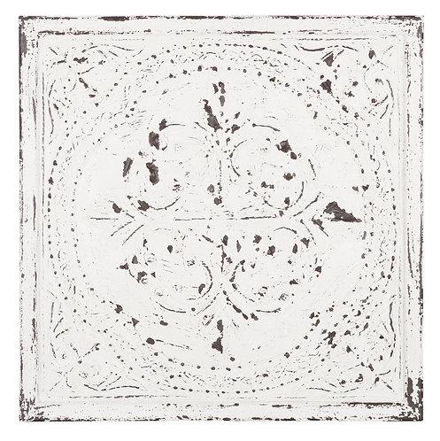 MUST LIVING, Snow White, Wanddeko Versailles, Zedrachholz, weiß, 67x67cm