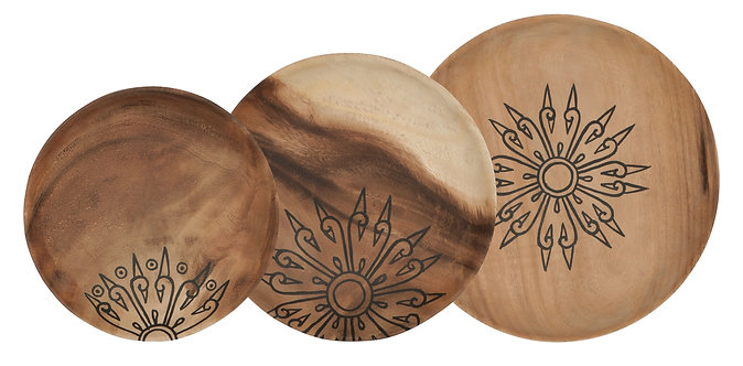 MUST Living, Mood for Wood, Tabletts Mandala, Teakholz, braun, 3er Set