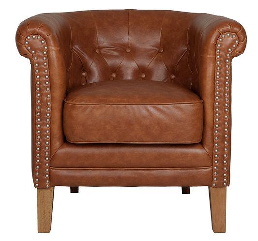 MUST LIVING, Lounge-Sessel Clubbing, recyceltes Leder, cognac, 75x80x73cm