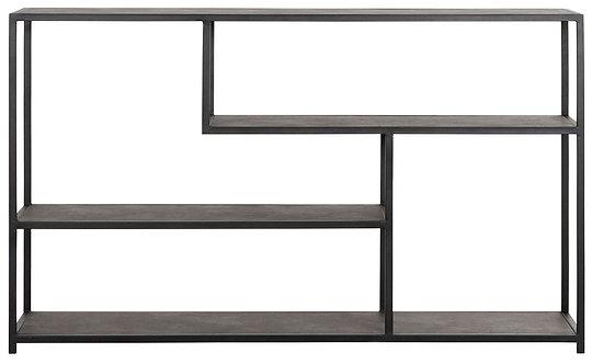 MUST LIVING, Sideboard Harmony, recyceltes Leder, schwarz, 90x150x35cm
